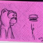 A Bear Looking at a Burger, Floating